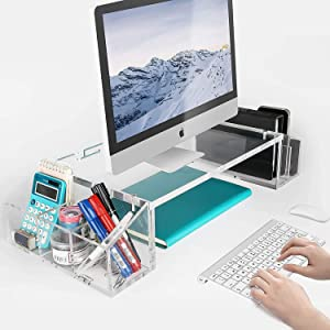 IMLIB Acrylic Monitor Stand Riser, Computer Stand Desk Organizer with Side Compartments Pockets and Cable Management, Desktop Stand for Home and Office Computer, Laptop, iMac, Flat Screen TV
