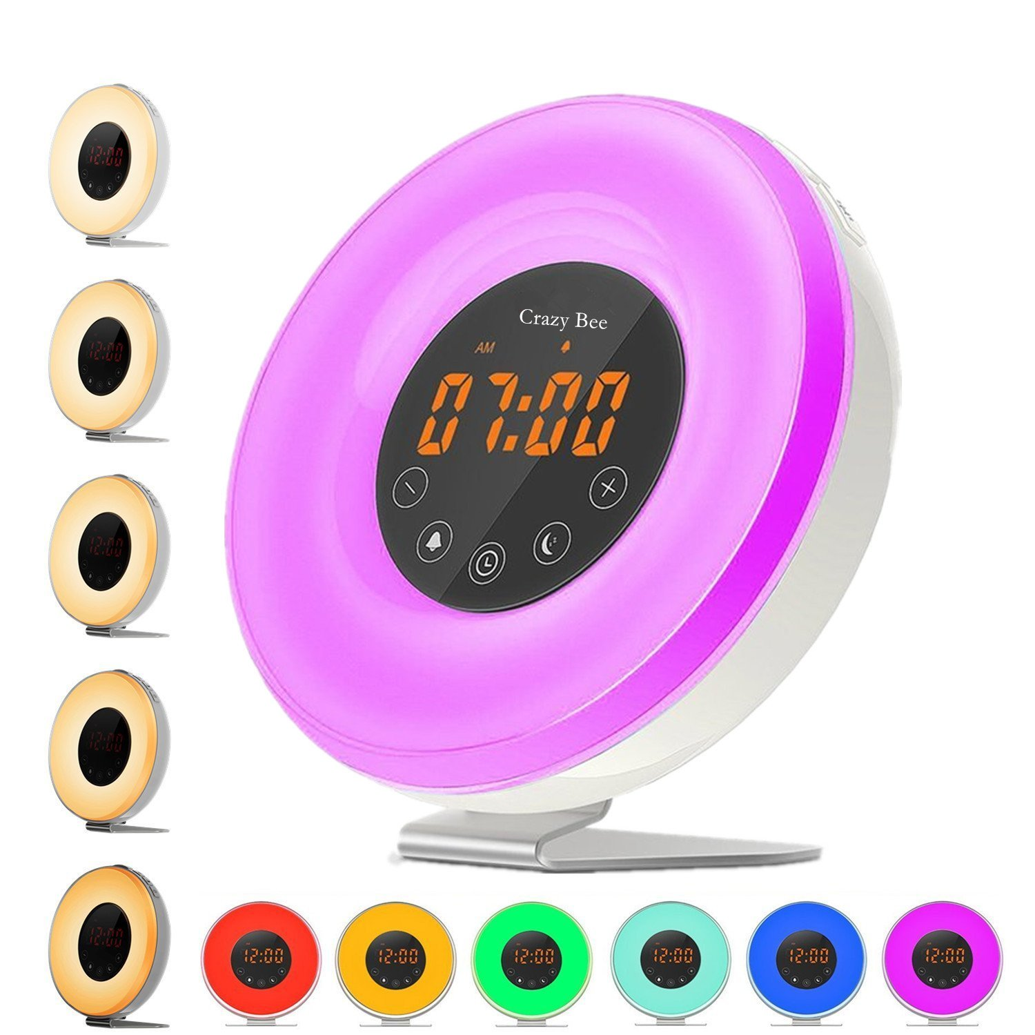 Sunlight Alarm Clock,Best Sunrise Wake up Light with 6 Nature Sounds for Heavy Sleepers.FM Radio, Touch Control with USB Charger, Sunset Simulator Alarm Clock by Crazy Bee