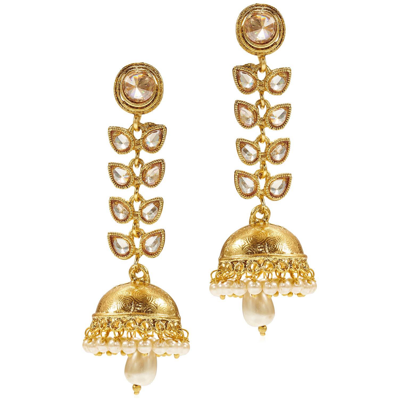 Aheli Fancy Party Wear Jhumki Dangle Earring Bollywood Indian Traditional Ethnic Festive Jewelry for Women
