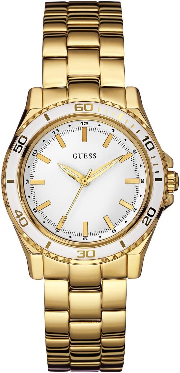 GUESS Women s White and Gold-Tone Mid-Size Sport Watch