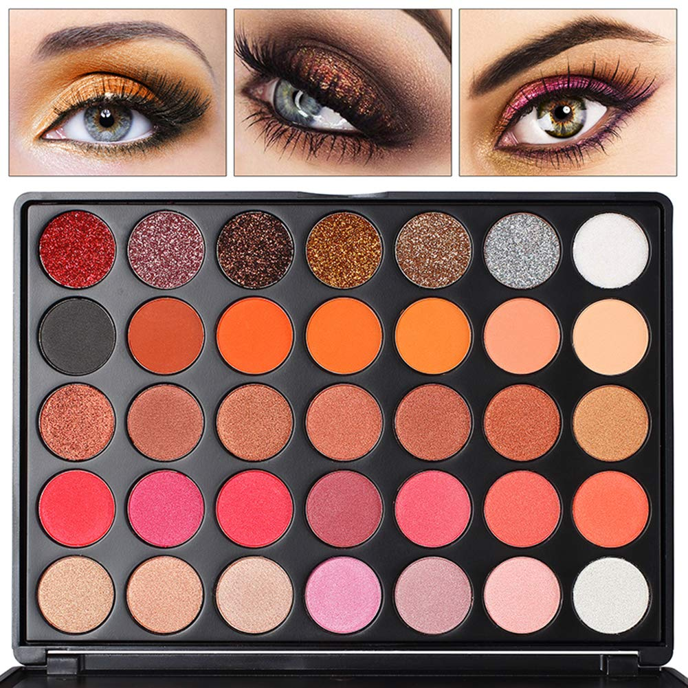 Eyeshadow Palette, FindinBeauty 35 Warm Colors Matte and Shimmery Silky Powder - Long Lasting and Pigmented Pressed Glitter Eye Shadow Makeup Set (35GF)