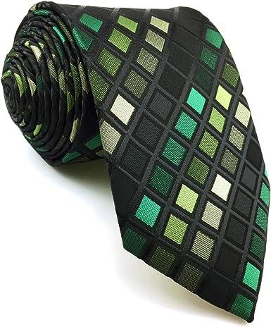 shlax&wing Hombre Nuevo La Moda Seda Corbatas Para Verde Negro a cuadros Extra largo: Amazon.es: Ropa y accesorios