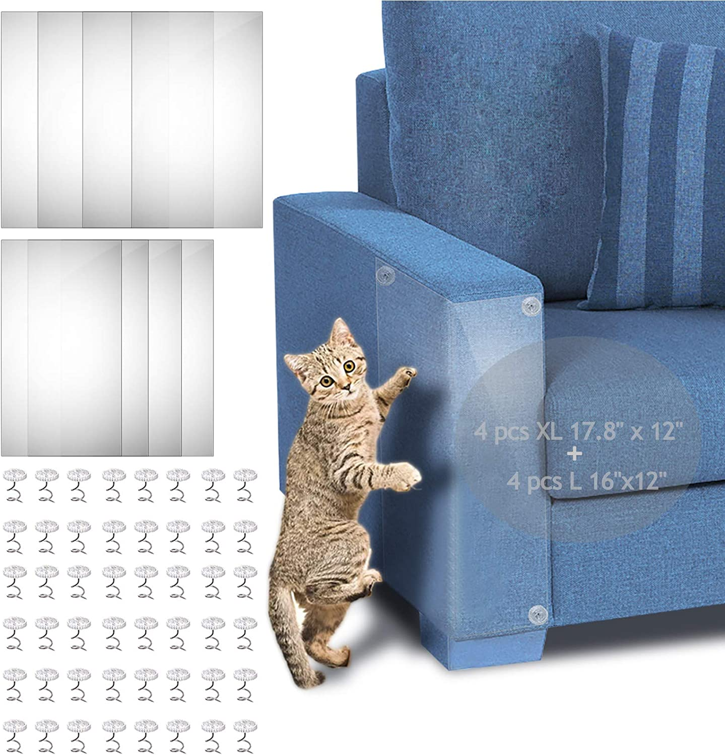 "Cat Furniture Protector, 4-Pack XL 17.8"" x 12""+ 4-Pack L 16""x12"" Self-Adhesive Cat Scratch Furniture Protector with 48 Twist Pins, Furniture Protection from Cat Scratching to Protect Sofa, Door, Wall"