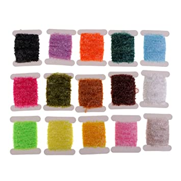 5 Cards Fly Tying Tinsel Chenille Line Flash Line for Lure Bait Making DIY
