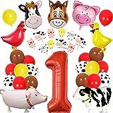 Animales de granja Decoraciones de cumpleaños para el corral Suministros para fiestas de animales Niños Niñas Primer…