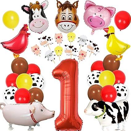 Animales de granja Decoraciones de cumpleaños para el corral ...