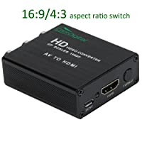 RCA AV to HDMI Converter Adapter CoolDigital 3RCA AV CVBS Composite to HDMI 720p/1080p 16:9/4:3 Aspect Ratio Switch Support PAL/NTSC with USB Charge Cable