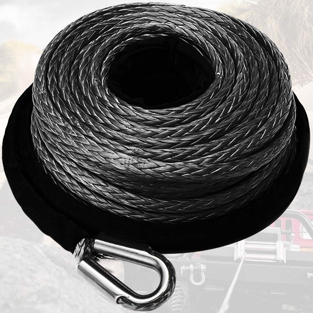 Synthetic Winch Rope 3/8'' x 85' - 23809 Ibs Winch Line Cable Rope with Protective Sleeve for 4WD Off Road Vehicle ATV UTV SUV Motorcycle