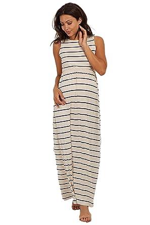 84894915b30 PinkBlush Maternity Striped Sleeveless Maxi Dress at Amazon Women's  Clothing store: