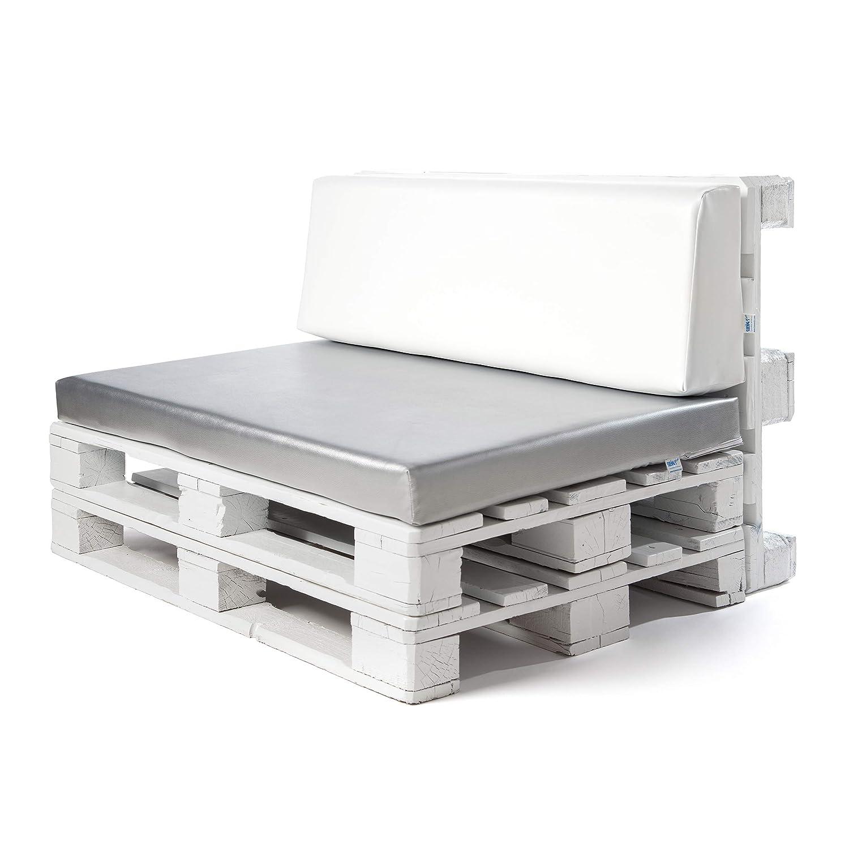 Conjunto colchoneta para sofas de palet Gris plata y respaldo Blanco (1 x Unidad) Cojin relleno con espuma. | Cojines para chill out, interior y ...