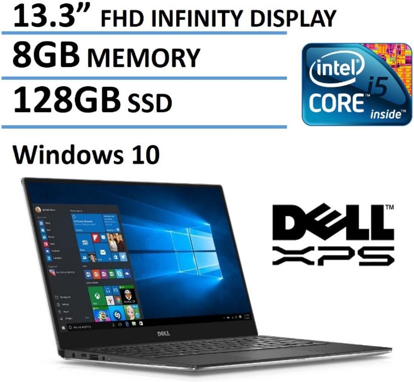 "Dell XPS 13 13.3"" FHD IPS Infinity Borderless Display, Intel Core i5-6200U Processor, 8GB RAM, 128GB SSD, Backlit Keyboard, Windows 10 (Renewed)"