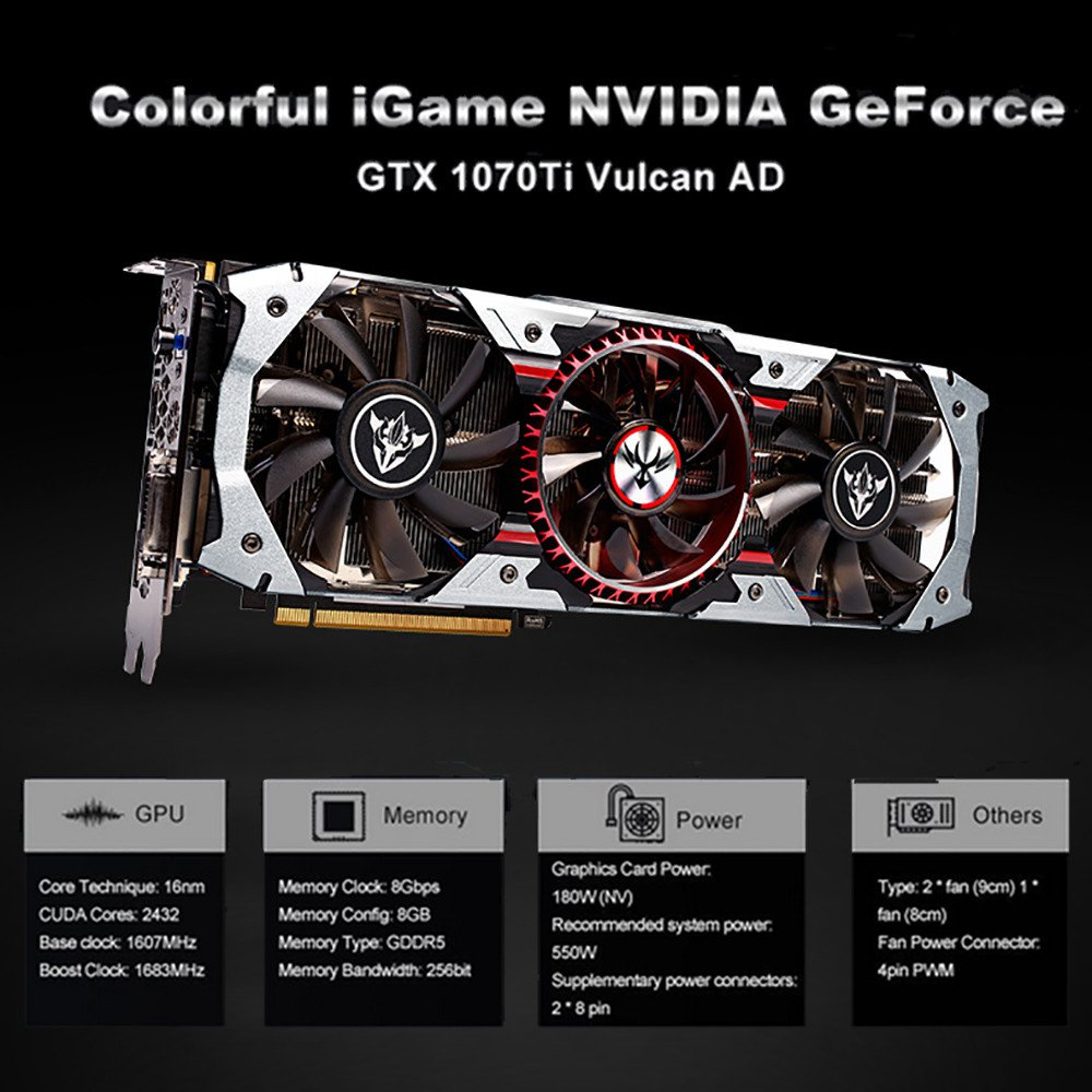Amazon.com: Littleice Colorful IGame GTX 1070Ti Vulcan AD ...
