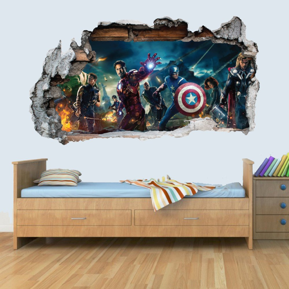 GNG Marvel Avengers Vinyl Smashed Wall Art Decal Stickers Bedroom Boys Girls 3D L