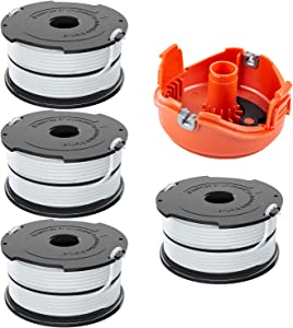 """Girapow DF-065 0.065"""" String Trimmer Dual Line for Black&Decker Weed Eater Refills Auto Feed AFS Spool 36ft, Compatible with GH710 GH700 GH750 (4 Spools + 1 Cap)"""