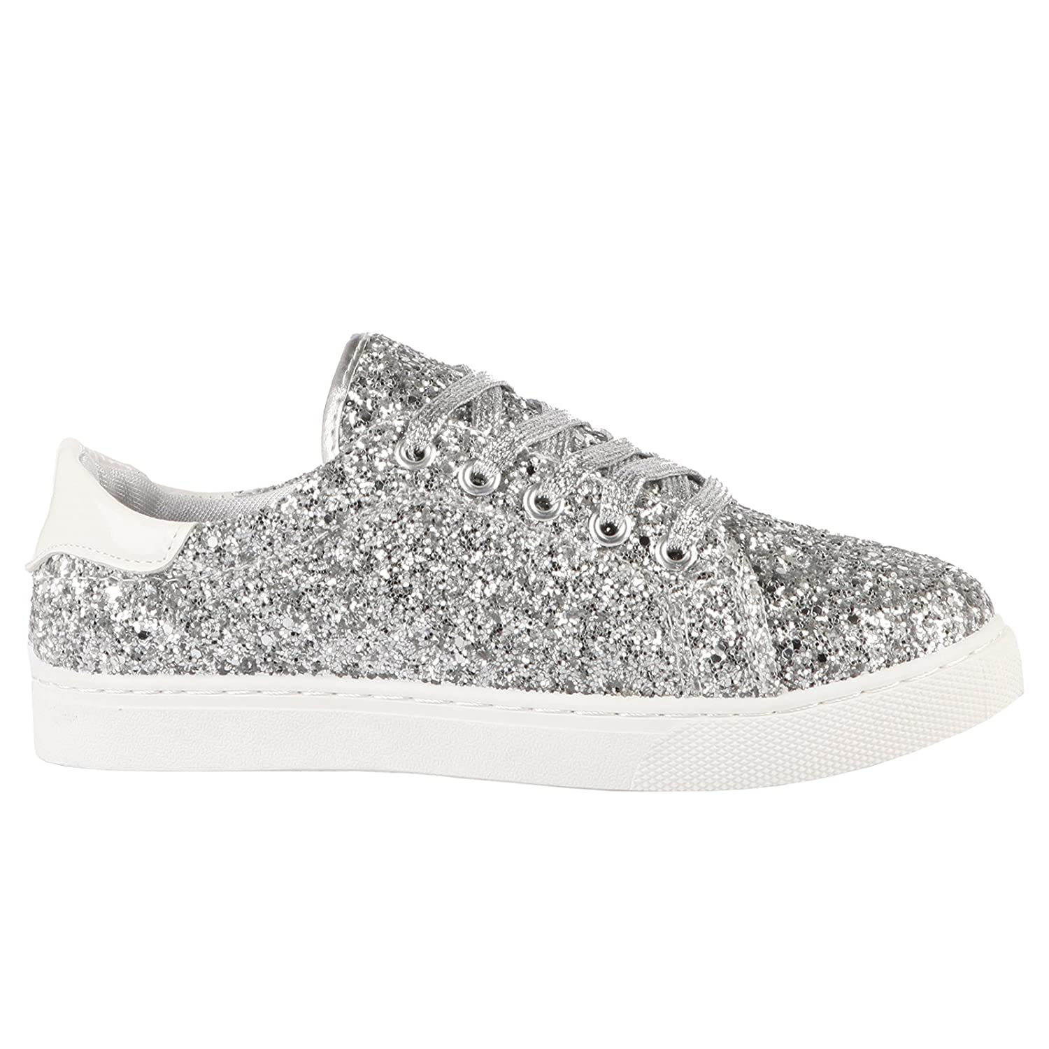 1df81d23816e ByPublicDemand Ally Womens Lace Up Thick Sole Glitter Trainers Silver  Glitter Size 6 UK / 39 EU: Amazon.co.uk: Shoes & Bags