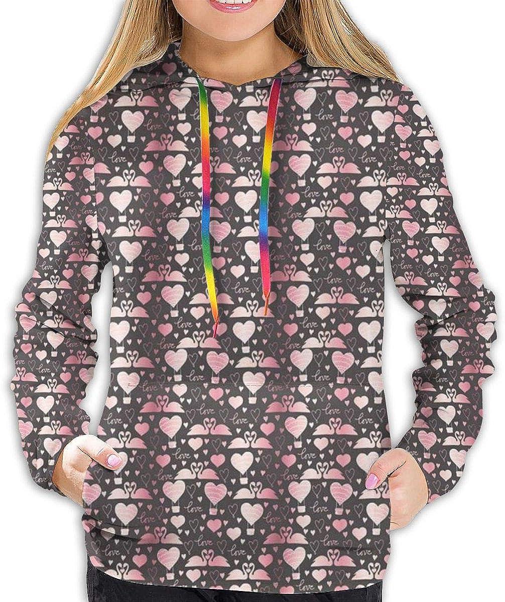 Womens Hoodie,Lovebirds Gracious Aquatic Animals Romance Swans,Lady Sweatshirt
