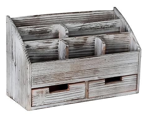 Superbpag Office Supplies Distressed Torched Wood Desk Organizer Vintage  Rustic Wooden Pen Holder Mail Sorter Desk