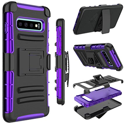 Vena Galaxy S10 Plus Holster Case, vArmor Space Gray//Black Compatible with Galaxy S10 Plus Rugged Military Grade Heavy Duty Case with Belt Clip Swivel Holster and Kickstand
