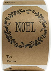 Natural Kraft Gift Tags Noel Jingle All The Way Holiday Present Stickers 2 x 3 Inch 100 Total Adhesive Labels