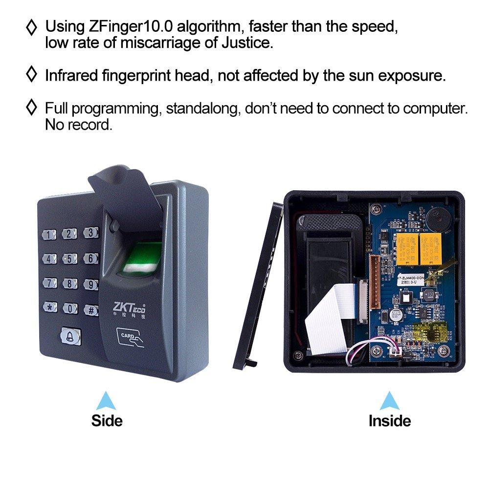 LIBO Fingerprint Machine Biometric Fingerprint Access Control Keypad with 10pcs Proximity RFID 125KHz Cards Keyfobs for Home//Office Electric Door Lock System 500 Users