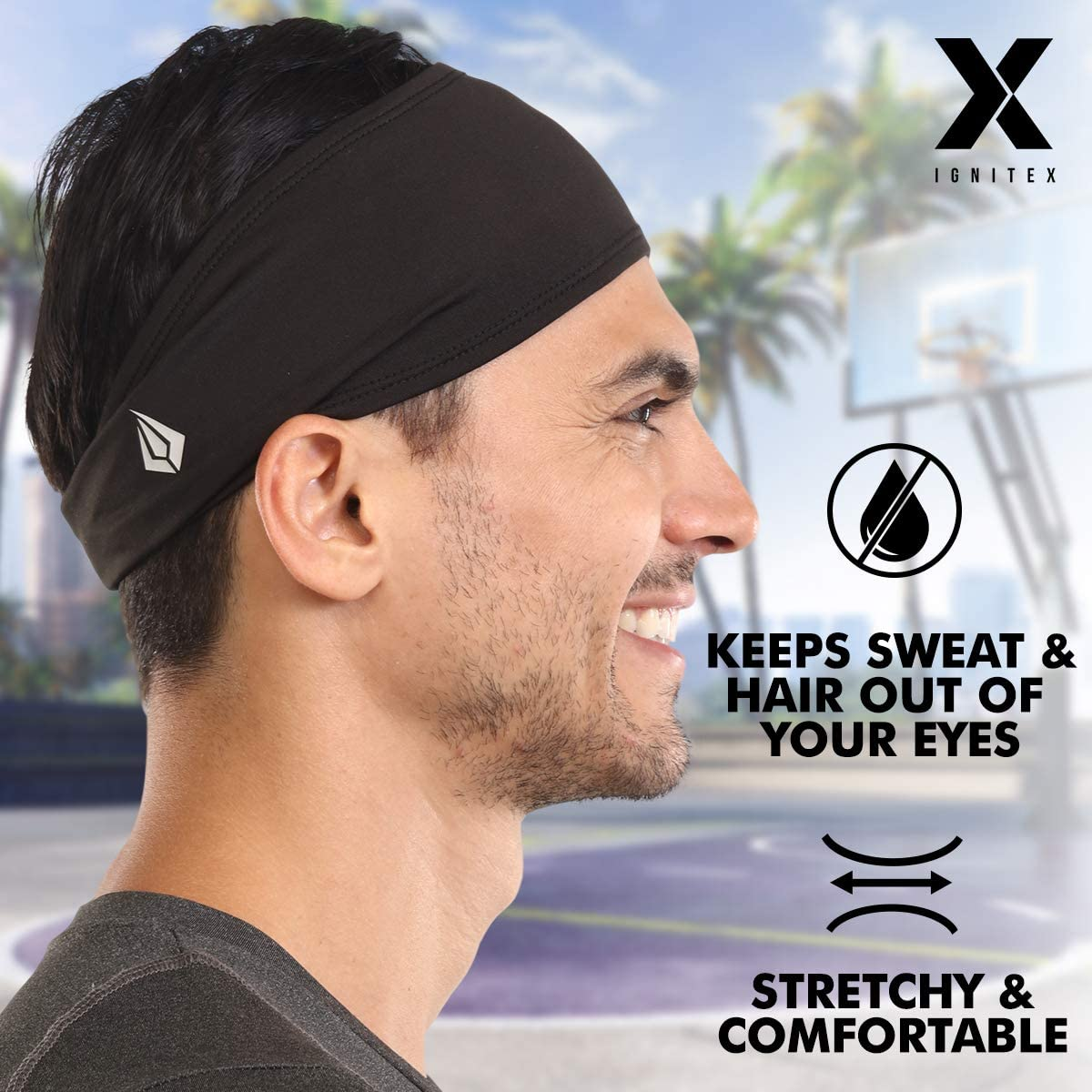 Football Baseball Mens Headband Basketball Exercise Performance Stretch Hairband /& Moisture Wicking Cycling Yoga Tennis Athletic Sweatbands for Running Sports /& Workout Sweat Head Bands