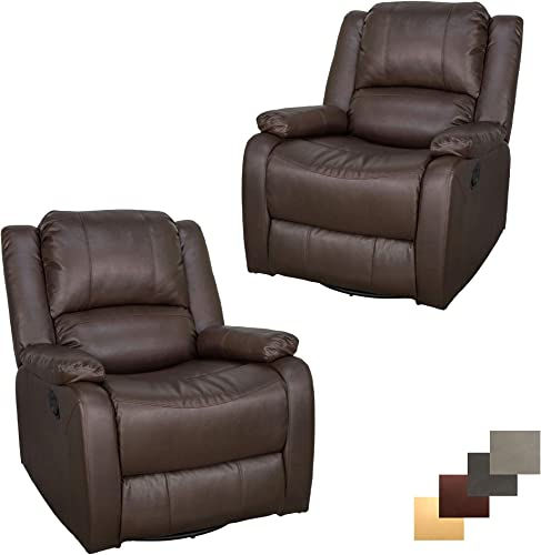 Set of 2 RecPro Charles Collection 30 Swivel Glider RV Recliner RV Living Room Slideout Chair RV Furniture Glider Chair Chestnut
