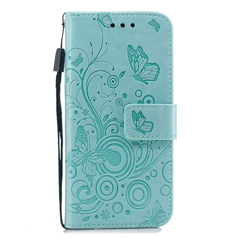 HCUI Compatible avec iPhone 7 / iPhone 8 Coque Cuir Étui Wallet Housse Papillon Fleur Motif Portefeuille de Protection Coque avec Fonction Support Magnétique Pochette Antichoc Coque - Vert.