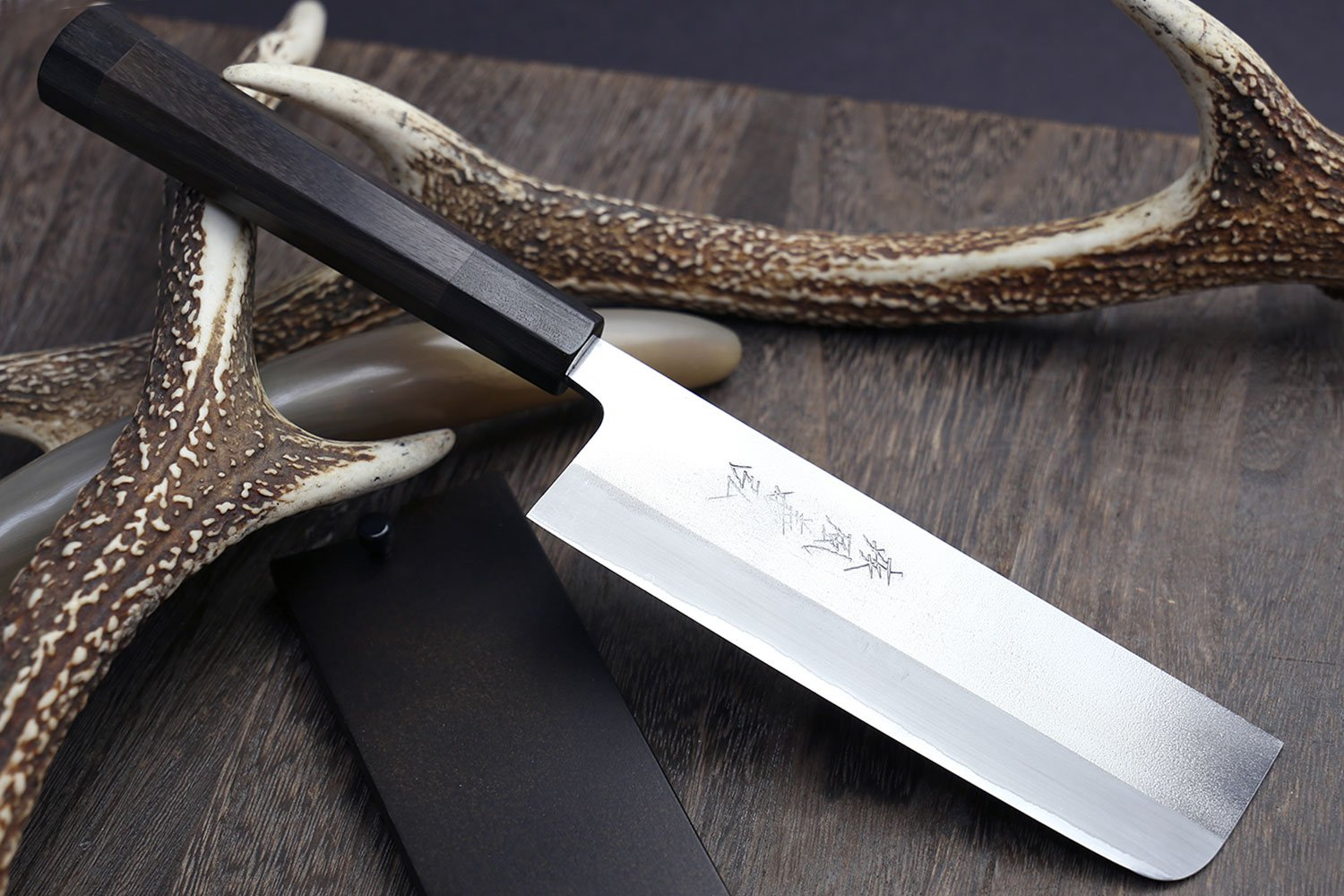 Yoshihiro Blue Steel Nakiri Vegetable Chefs Knife with Stainless Steel Cladding 6.5 IN Rosewood Handle with Nuri Saya