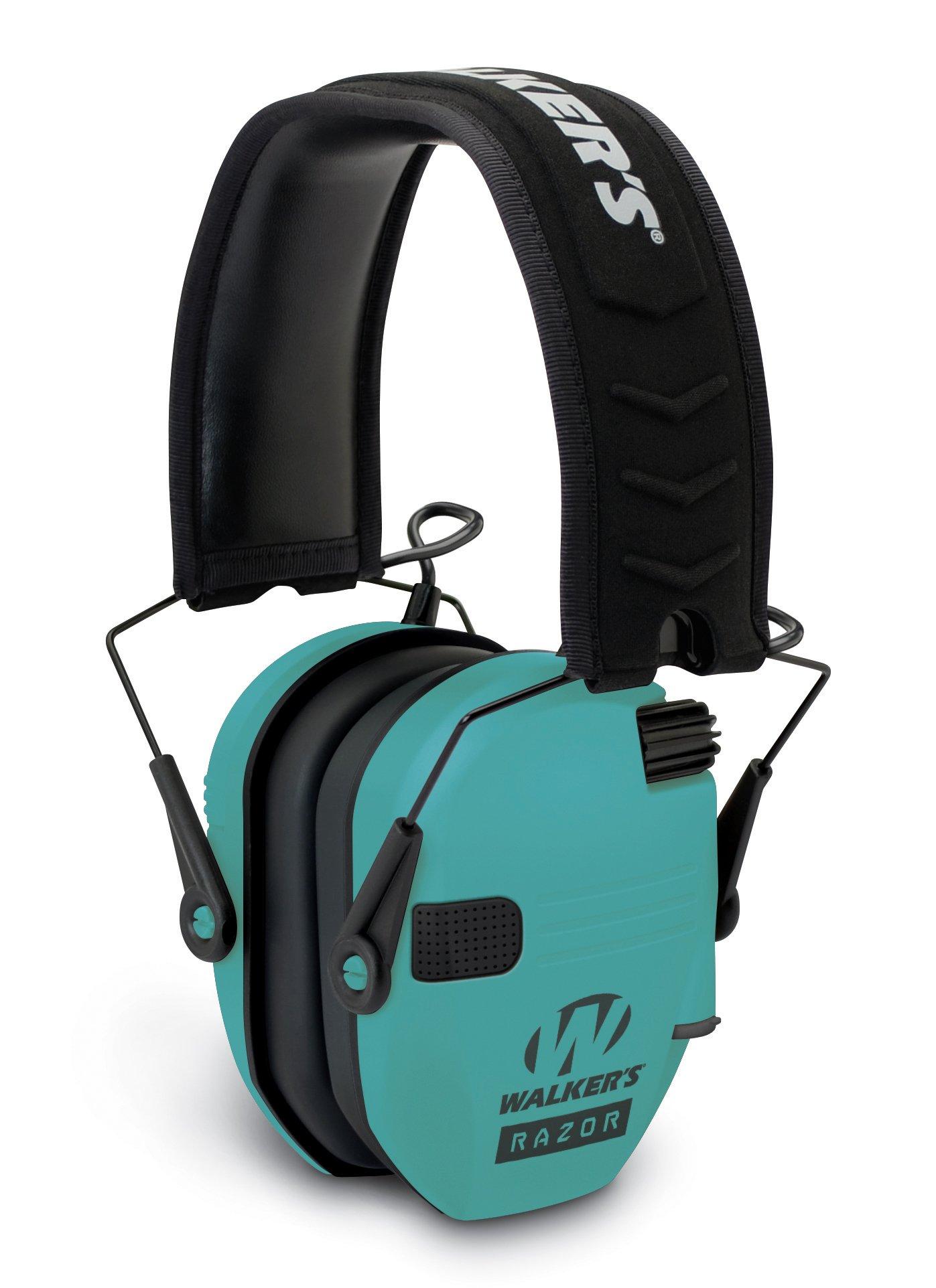 Walker's Razor Slim GWP-RSEM-LTL Electronic Muff Light Teal, 2 'AAA' Batteris by Walker's Game Ear