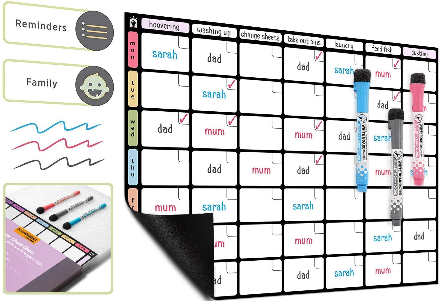 Lavagna magnetica frigorifero A3 Organizzatore di faccende domestiche - Lavagnetta Pianificatore famiglia di Plan Smart *versione colore* - BONUS: 3 Pennarelli di Qualità
