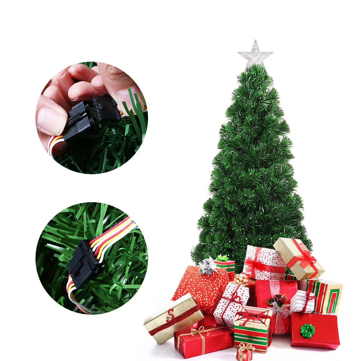 Amazon.com: Unomor 5FT Christmas Tree with Multi-Color and Tree Star ...