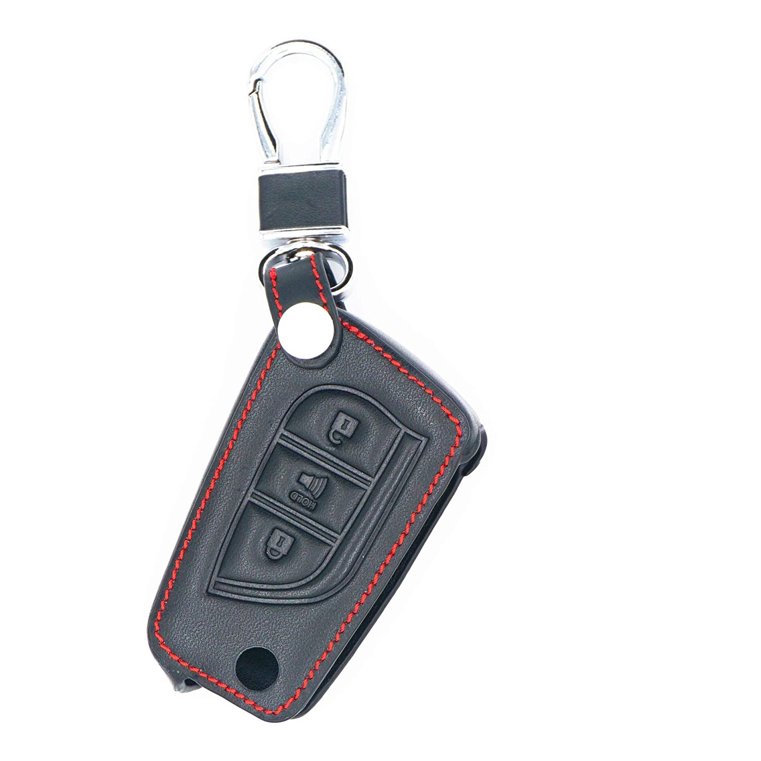 MJKEY 3 Buttons Genuine Leather Keyless Entry Remote Control Smart Flip Key Case Fob Cover Jacket Shell Bag Holder Protector For 2018 2017 Toyota Corolla iM HYQ12BBY Auto tool
