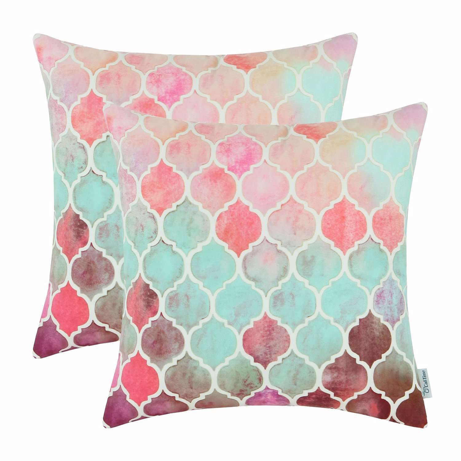 CaliTime Pack of 2 Cozy Throw Pillow Cases Covers Couch Bed Sofa Manual Hand Painted Colorful Geometric Trellis Chain Print 22 X 22 Inches Main Coral Cyan Wine