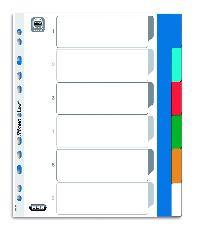 Elba 100205095 - Separador para archivador (del 1 al 10, plástico, A4, 25 unidades), multicolor: Amazon.es: Oficina y papelería