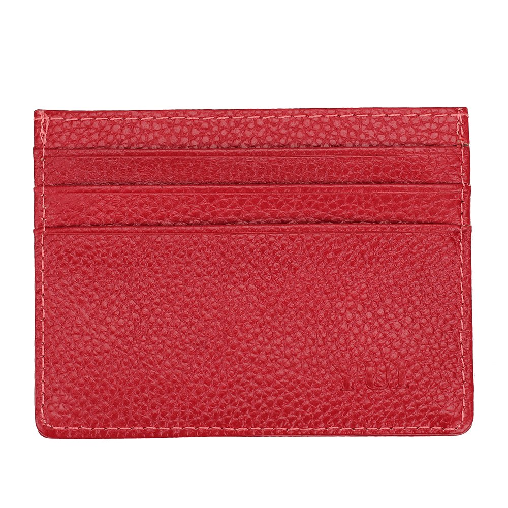 Genuine Leather Minimalist Slim Front Pocket Wallet for Women Men with Card Slots ID Window