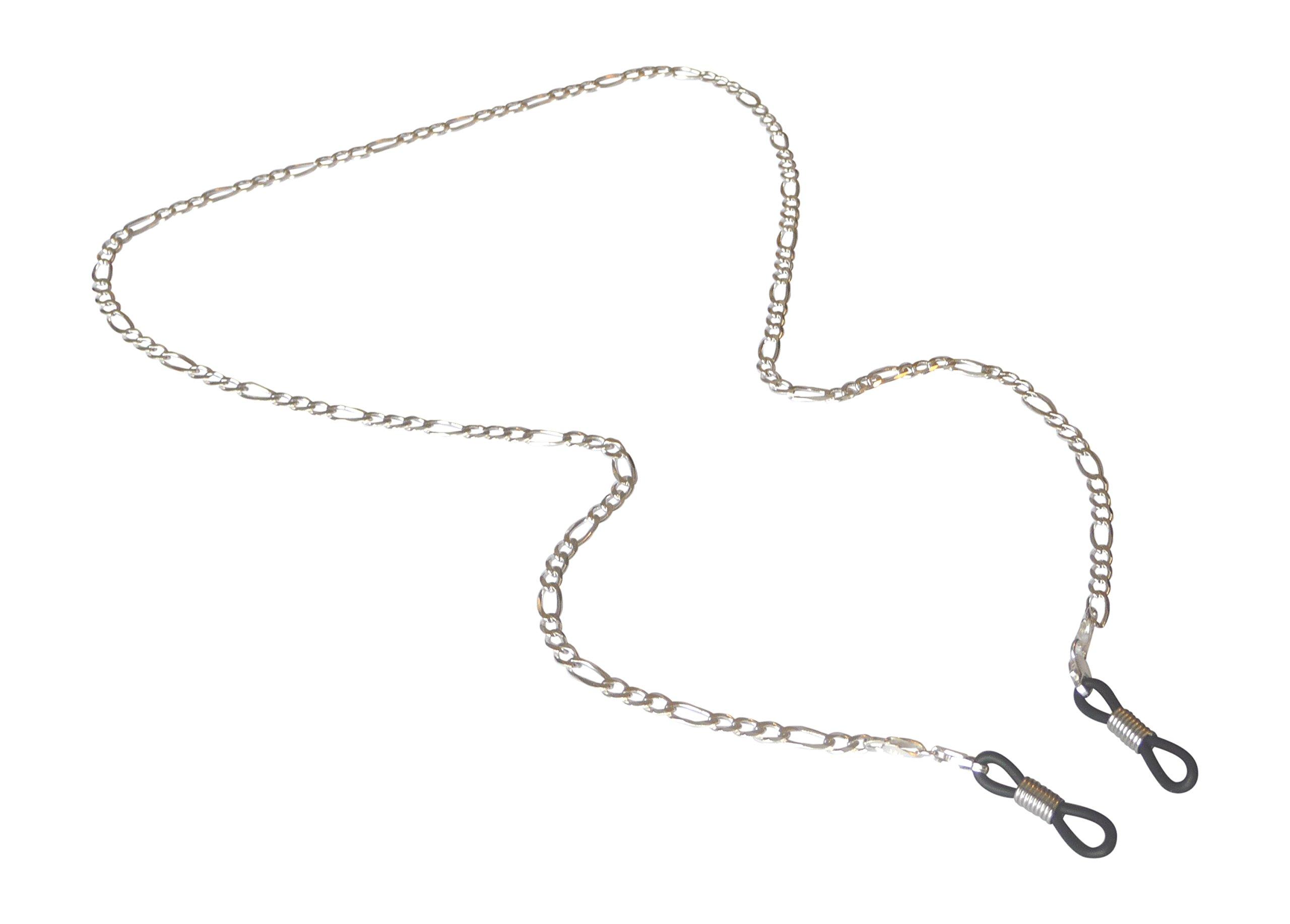 Silver Eyeglass Chain for Glasses, Sterling Silver Eyeglass Holder for Men and Women (3mm) by puntarocks