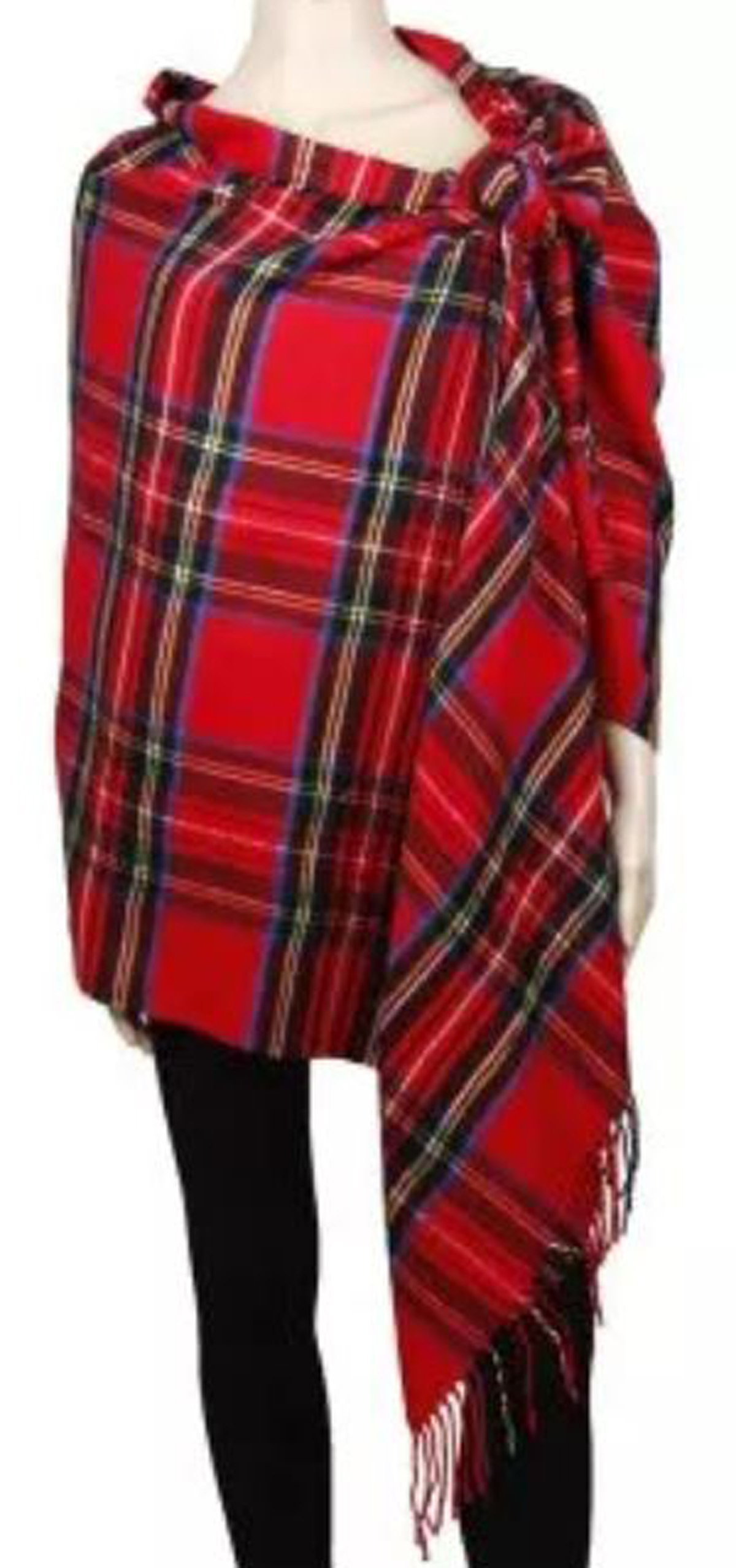 APPARELISM Women's Winter Scottish Clan Plaid Oversized Cashmere Feel Blanket Scarf Wrap Shawl.(Plaid Red) by APPARELISM (Image #4)