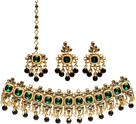 Indian Necklace Choker set in Dark green crystals and CZ stones I Party Necklace I Bridal Jewelry I  Statement necklace I Indian Jewelry