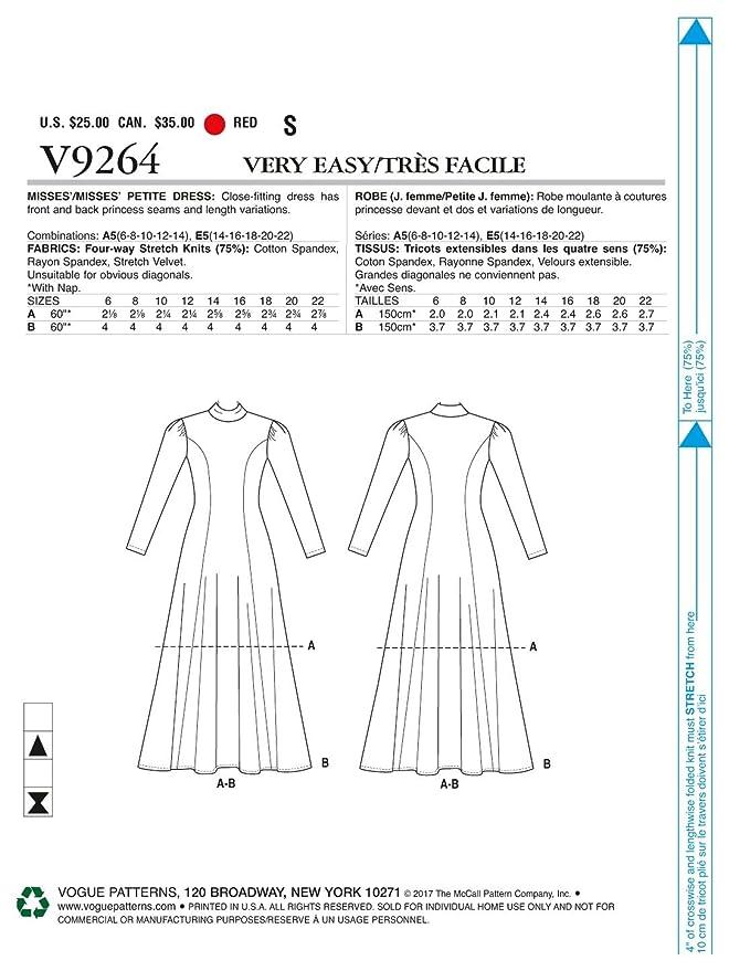 Vogue Patterns Vogue patrón 9264 A5, de Costura para/Petite Vestido ...