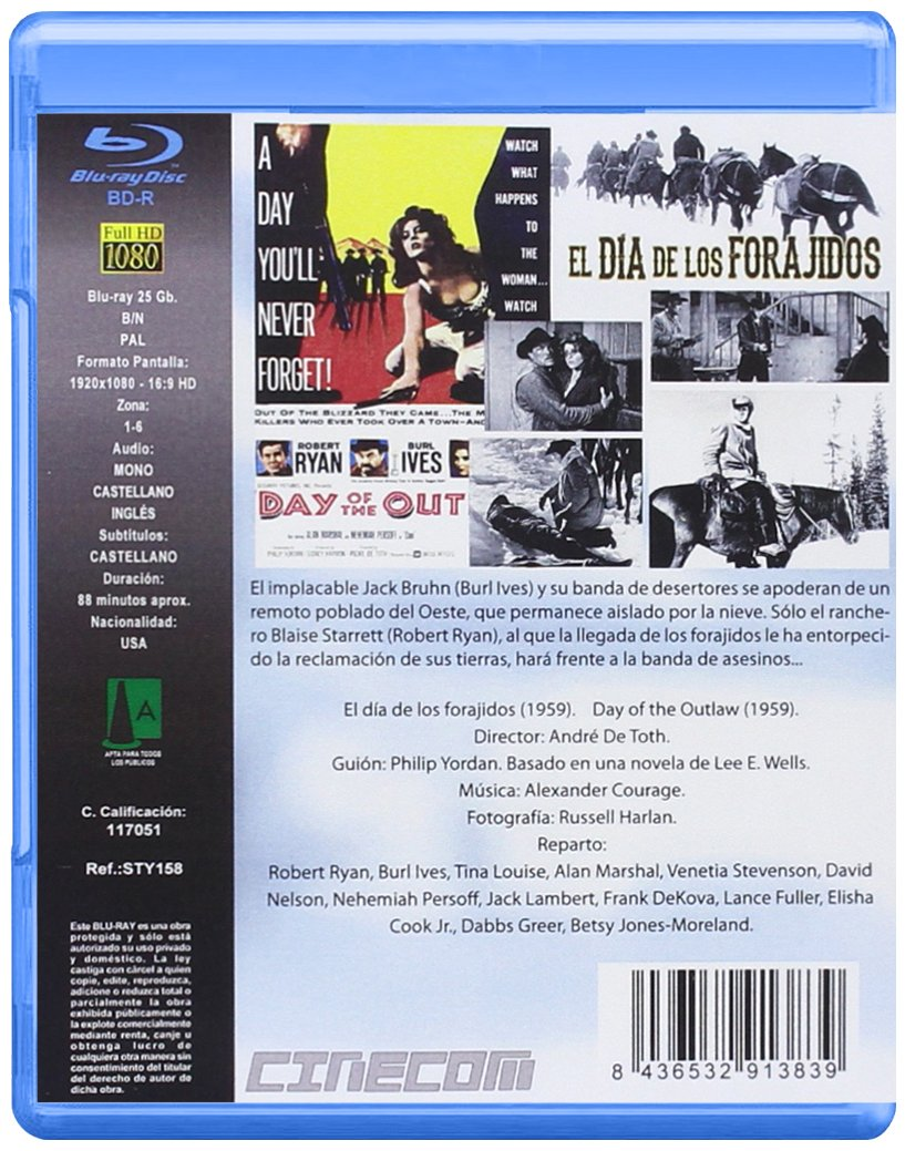 El Día de los Forajidos BD 1959 Day of the Outlaw Blu-ray: Amazon.es: Burl Ives, Tina Louise, Nehemiah Persoff, Jack Lambert, Alan Marshal Robert Ryan, ...