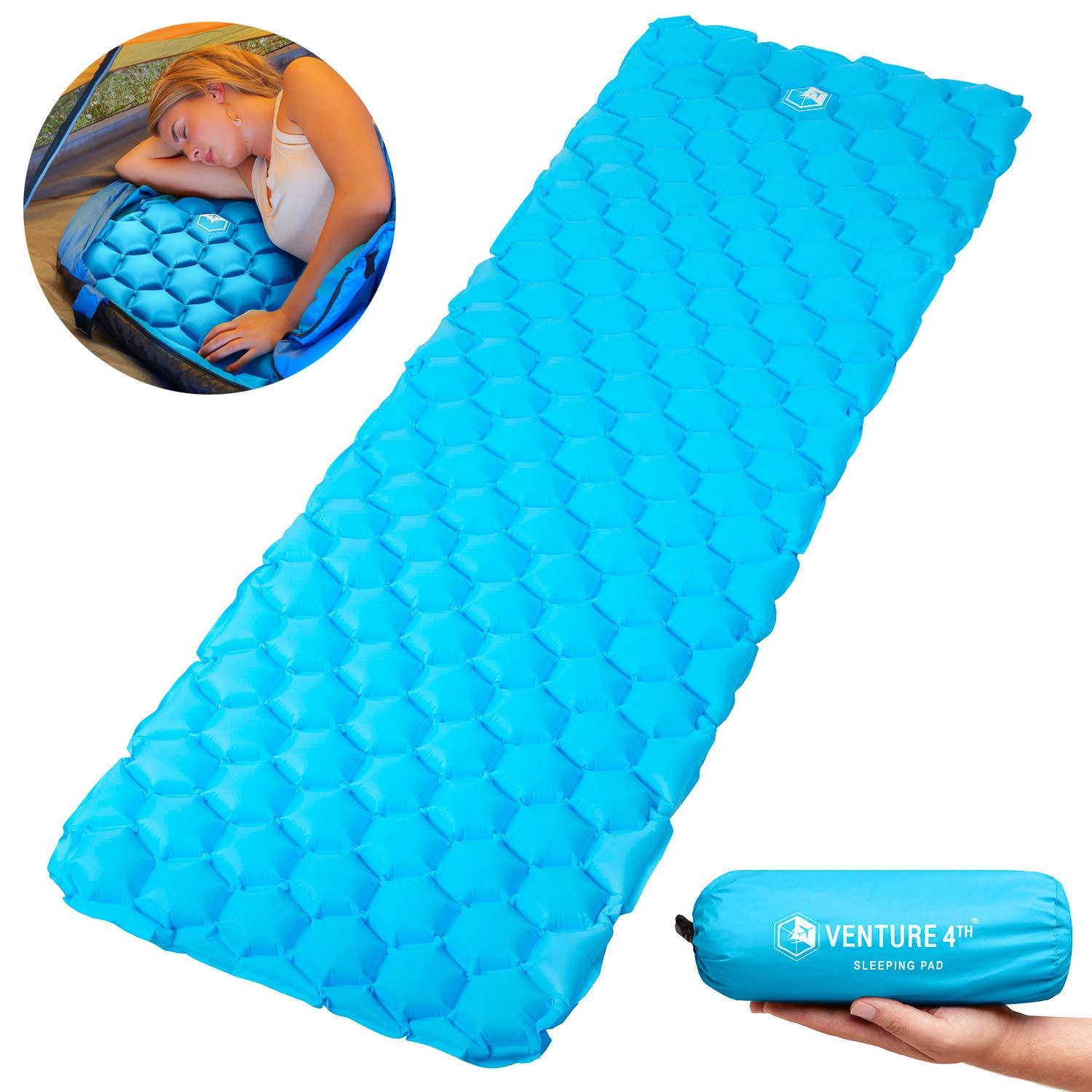 VENTURE 4TH Ultralight Air Sleeping Pad - Lightweight, Compact, Durable - Air Cell Technology for Added Stability and Comfort While Backpacking, Camping, and Traveling (Light Blue) by VENTURE 4TH