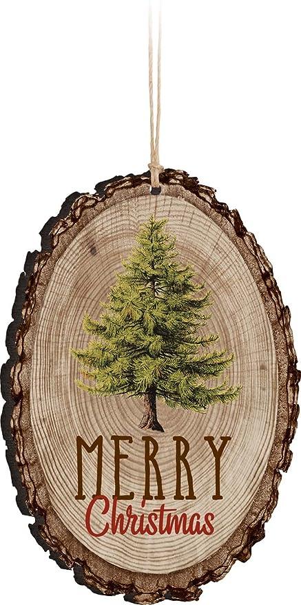 Amazon.com: Merry Christmas Evergreen Tree Rustic Bark Look Wood ...