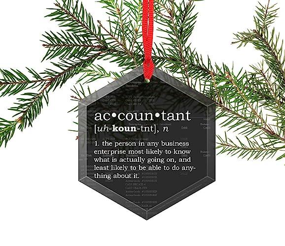 Christmas Accountant.Accountant Definition Funny Glass Christmas Ornament