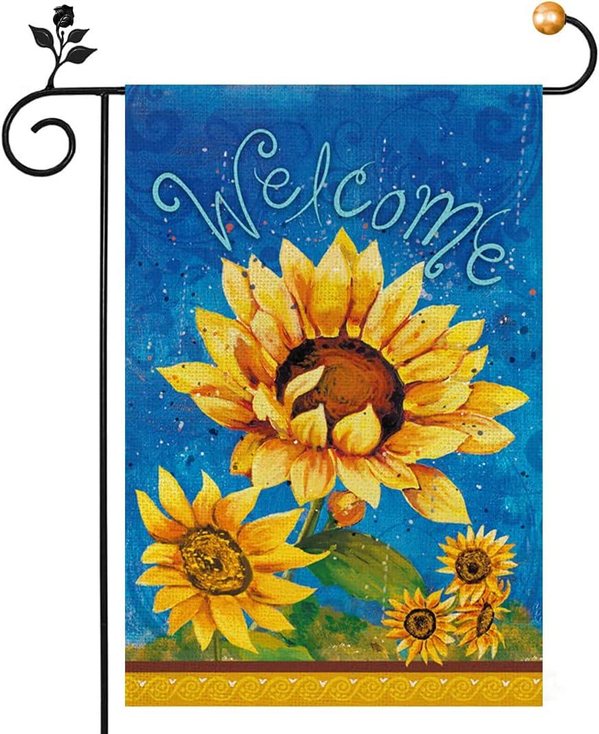 Summer Sunflowers Garden Flag 12 x 18 Inch, Welcome Summer Garden Flag Double Sided, Spring Summer Flower Garden Flag For Yard Decoration