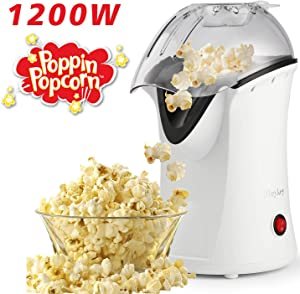 Hot Air Popcorn Machine, 1200 W Popcorn Popper, Electric Popcorn Maker with Measuring Cup and Removable Lid, No Oil Needed Great For Kids (White)