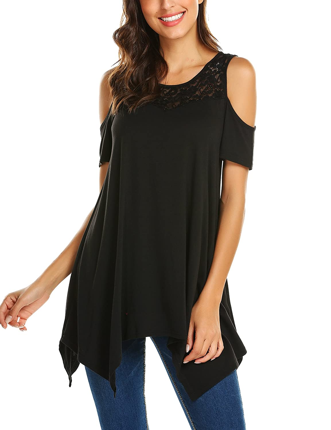 b5ec97887c376 BURLADY Women s Lace Cold Shoulder Tops Short Sleeve Flowy Loose Tunic  Shirts at Amazon Women s Clothing store