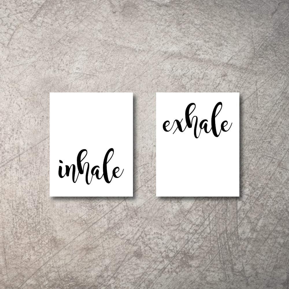 "Inhale Exhale Zen Home Decor Art Prints 2 8""x10"" UNFRAMED Meditation or Bedroom fireplace Decorations Black White Yoga Wall Art Prints Modern Zen Home Decor Print Wall Art Posters Bathroom Decor Set"