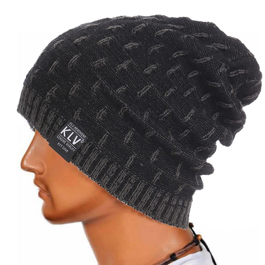 yang-yiホット販売メンズレディース帽子冬暖かいかぎ針編みニットスキービーニースカルSlouchyキャップ帽子 One Size ブラック B0778GYLTT  グレー One Size