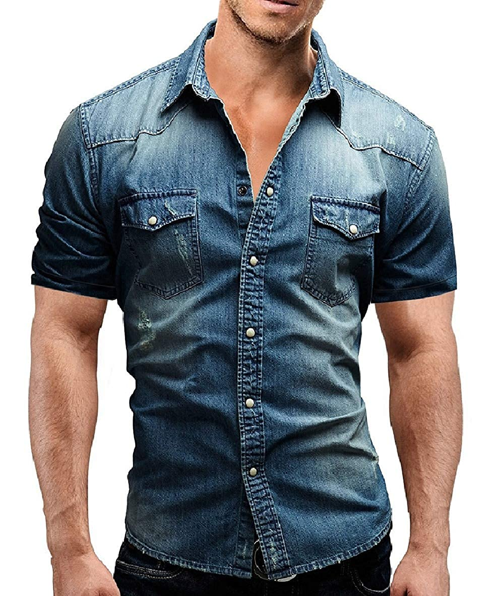 HEFASDM Mens Denim Stonewashed Leisure Slim Short-Sleeve Woven Shirt