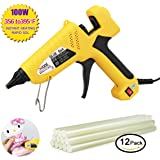 100-Watt Hot Glue Gun with Flexible Trigger, Professional Industrial Hot Melt Glue Gun Kit with 12 Pcs Hot Glue Gun Sticks, for DIY Gadget, Small Craft Projects and Quick Repairs in Home and Office